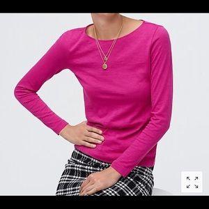 J Crew Artist T shirt Long Sleeve Cotton Pink S